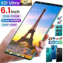 6.1 polegada galxy s21 ultra 12 gb 512 gb 24mp + 48mp 5g celulares smartphones android 10 5000mah 11 núcleo realmente telefone mtk6889