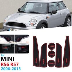 Anti-Slip Rubber Gate Slot Cup Mat For BMW MINI R56 R57 Hatch ONE Cooper S Accessories 2006 2007 2008 2009 2010 2011 2012 2013