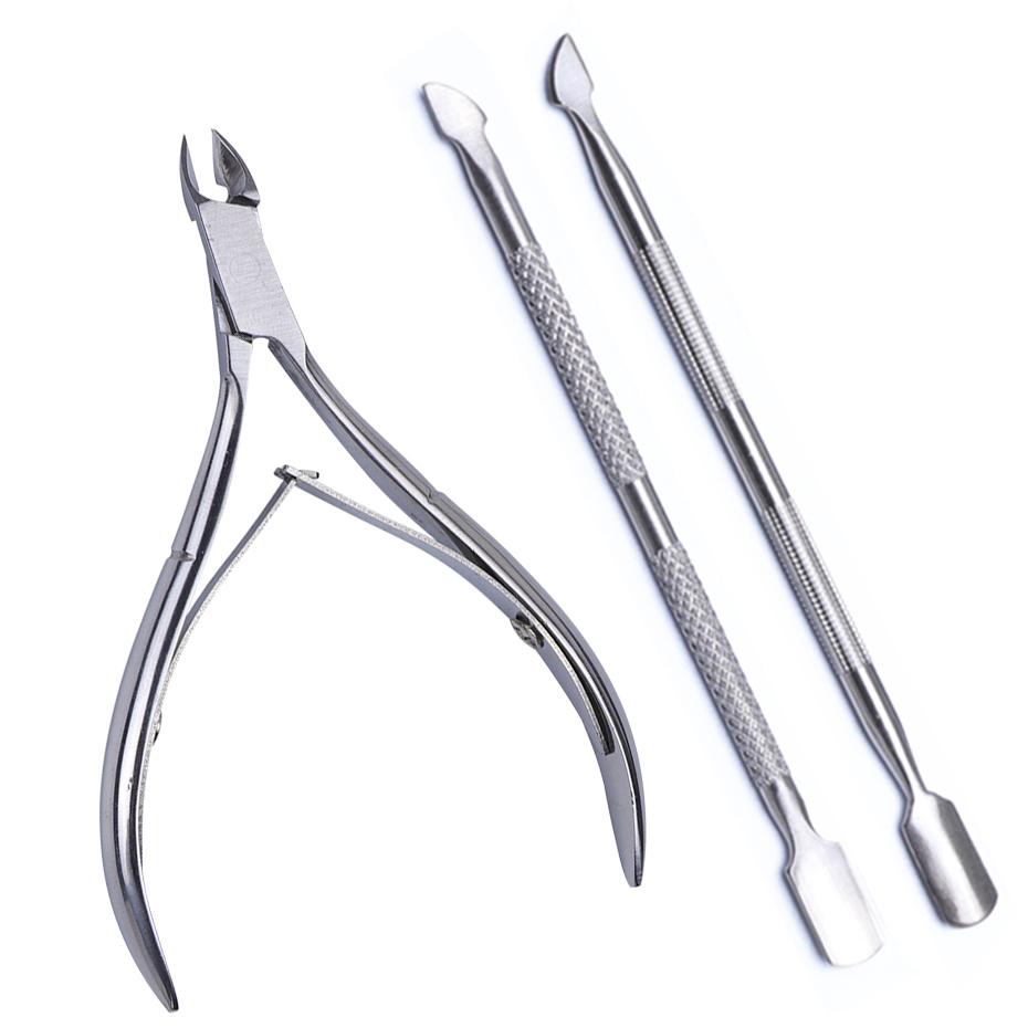 3pcs/set Nail Tool Stainless Steel Cuticle Nipper Spoon Cuticle Pusher Dead Skin Remover Scissors Trimmer Cutter Clipper JINJ221