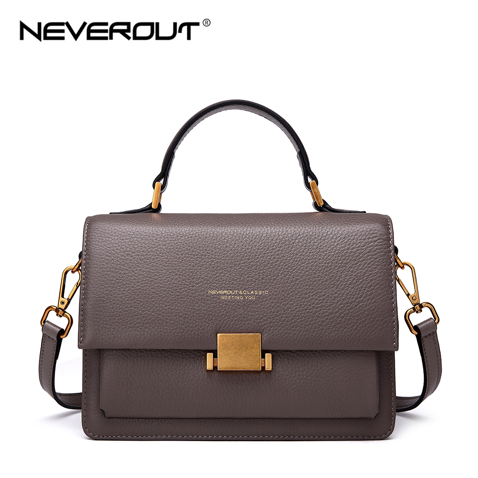 NEVEROUT Genuine Leather Shoulder Bag Sac A Main Soft Cross Body Bag Handbags for Women Designer