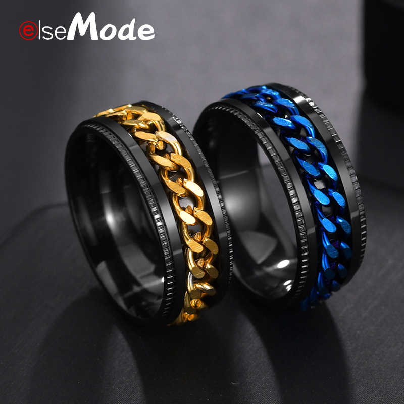 ELSEMODE Titanium Steel Black Spinner Chain Ring for Men Tire Texture Rotatable Links Punk Male Anel Alliance