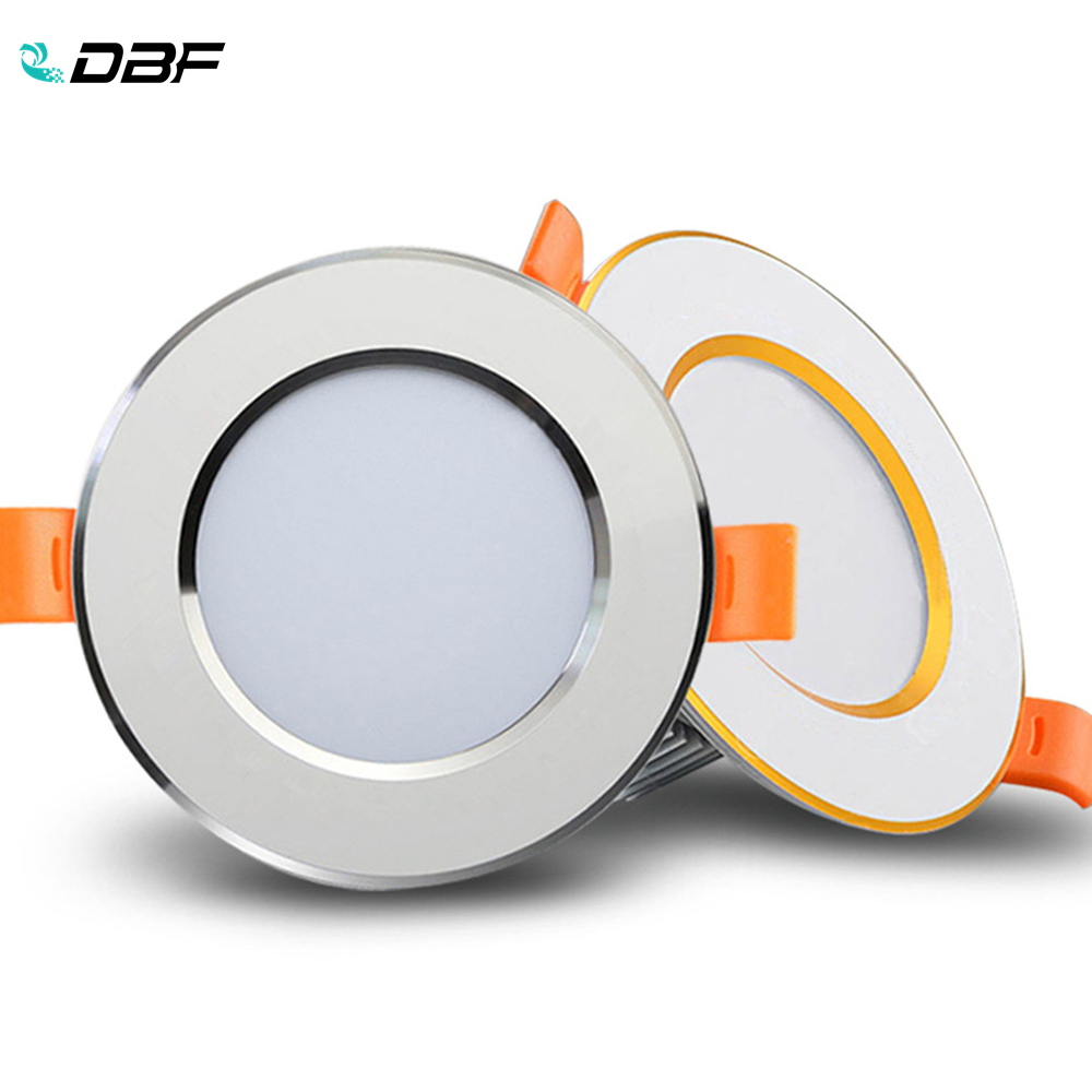 [DBF]Ultra Thin 2-in-1 Silver/Gold Round LED Downlight 3W 5W 7W 9W 12W Aluminum AC220V Driverless LED Ceiling Recessed Spot Lamp