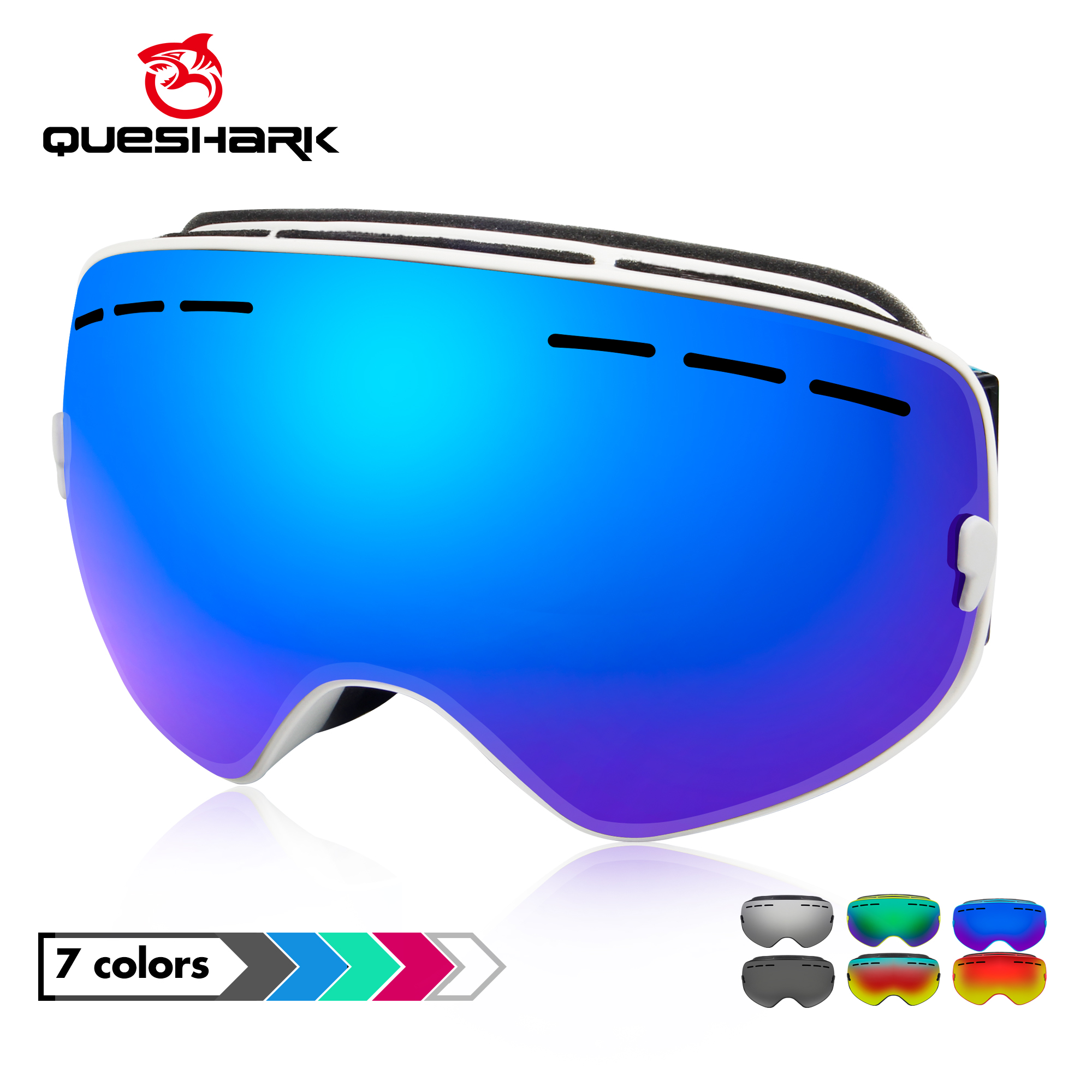 Queshark Ski Goggles Double Layers UV400 Anti-fog Big Ski Mask Glasses Skiing Men Women Snow Snowboard Goggles