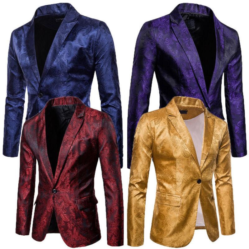Goocheer Fashion Men Shiny Blazers Gold Glitter Suit Jackets Male Nightclub One Button Suit Blazer DJ Stage Blazers