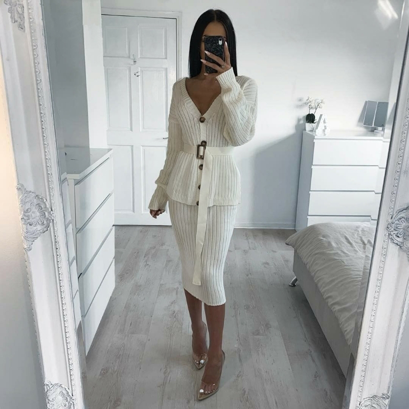 Yesexy 2019 automne hiver col en V tricoté femmes pull robes couleur unie 2 pièces femmes robe ensemble mince MQ092 - 2