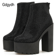 Gdgydh Sexy Crystal Women Boot High Heel Ankle Boots Goth Black Leather Suede Shoes Autumn Spring Platform Party