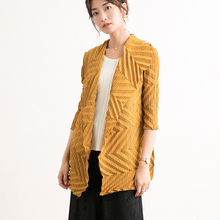 Fold Loose coat Small fragrant wind Womens clothing 2019 New pattern Yellow Three quarter sleeve Early autumn Cardigan