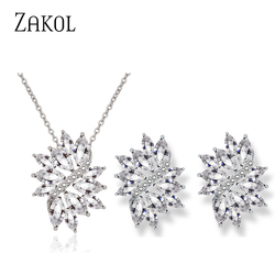 ZAKOL Fashion Wedding Bride Wearing Luxury Women Jewelry Set Shiny Zircon Costume Earring Necklace Set FSSP3136