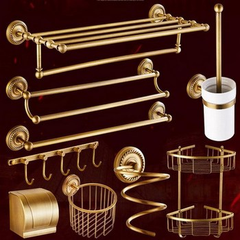 Antique Brass Bathroom Hardware Towel Shelf Towel Bar Paper Holder Cloth Hook Bathroom Accessory Wall Mounted Kxz005 solid brass bathroom towel rack single bar carved holder antique brass bathroom towel holder wall mounted