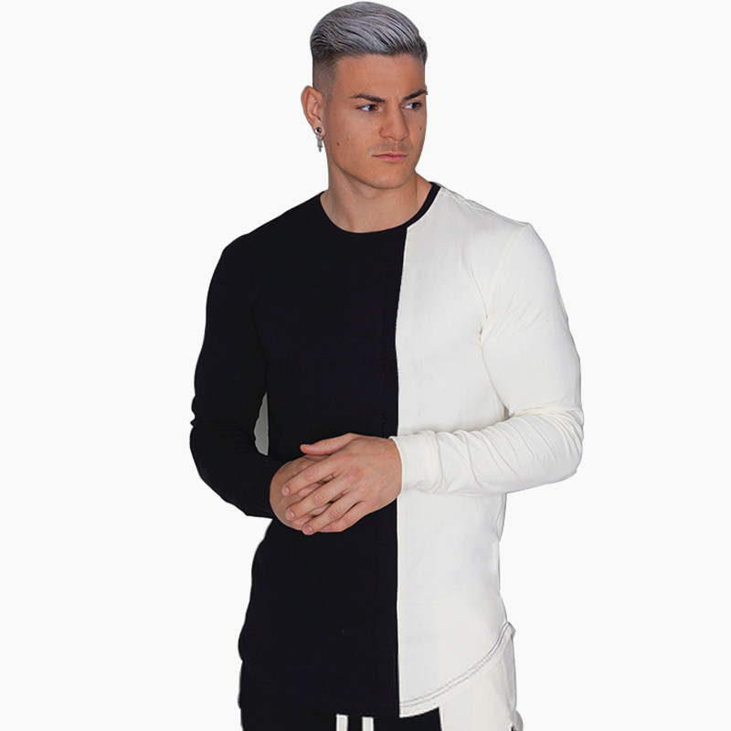 Autumn New Men Fashion Casual Patchwork Long sleeve t-shirt Male Gyms fitness Tees tops joggers Bodybuilding Brand clothing