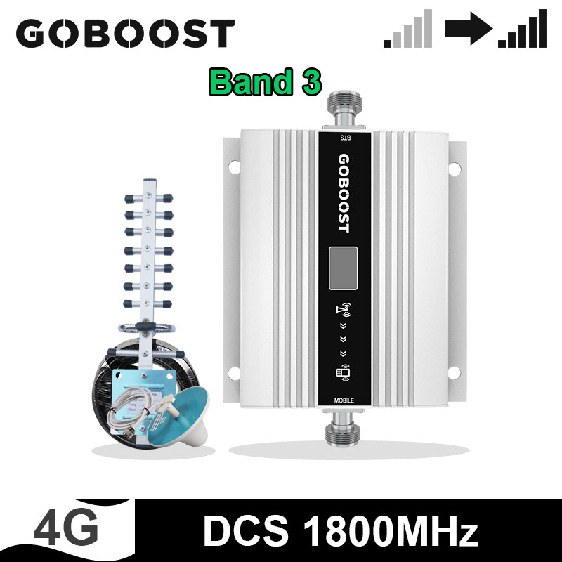 GOBOOST 4G Mobile Signal Booster DCS 1800Mhz Cell Phone Repeater Amplifier Yagi + Ceiling Antenna With 10M Cable Kits