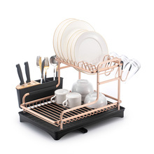 New Stainless Aluminum Kitchen Dish Drying Rack Sink Drainer Stand Storage Shelf Organizer Container Accessories Knife Holder