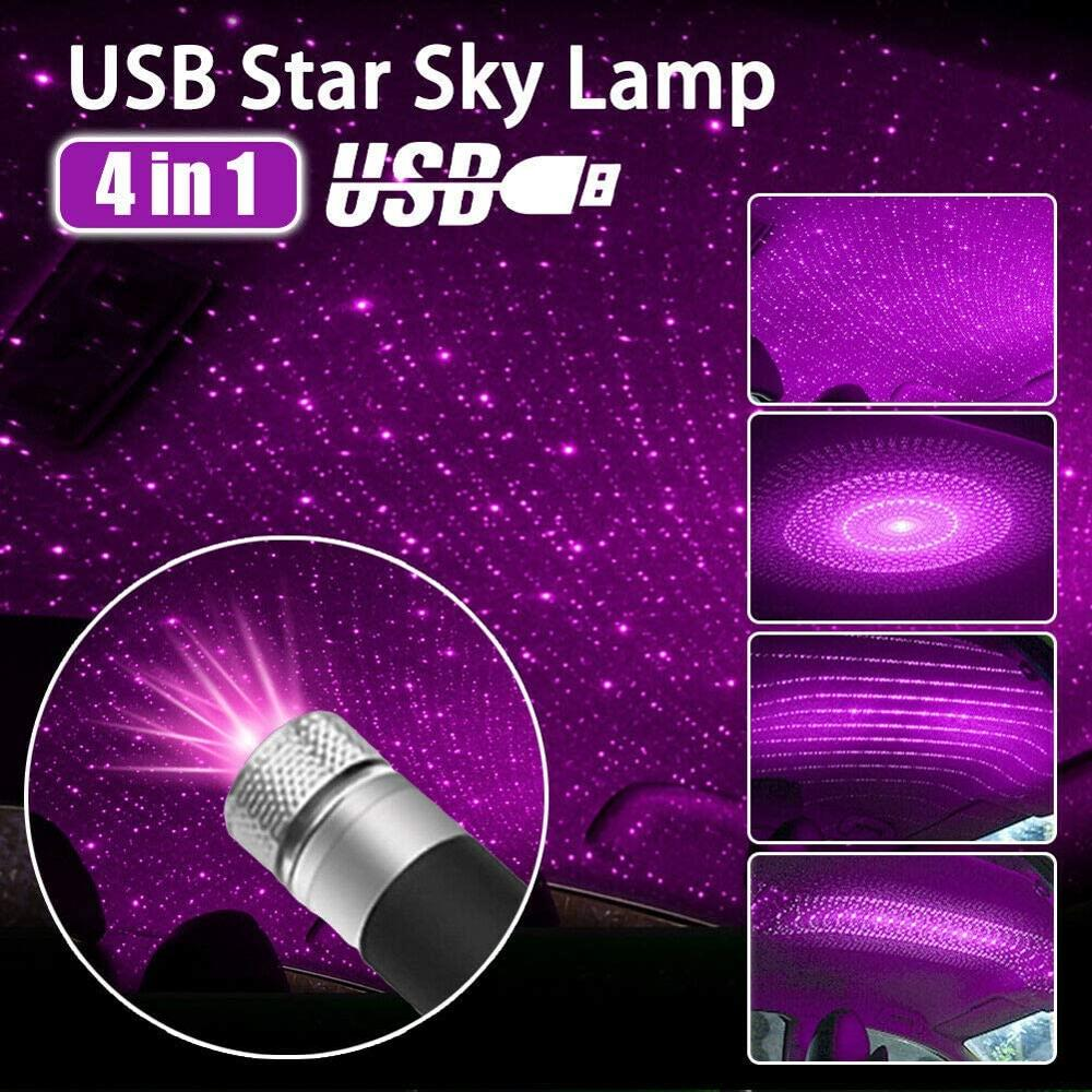 MINI 4 In 1 Car Roof Star Sky Lamp 4 Patterns Laser Projector Light USB Plug DJ Disco Stage Lighting Effect Atmosphere Lights