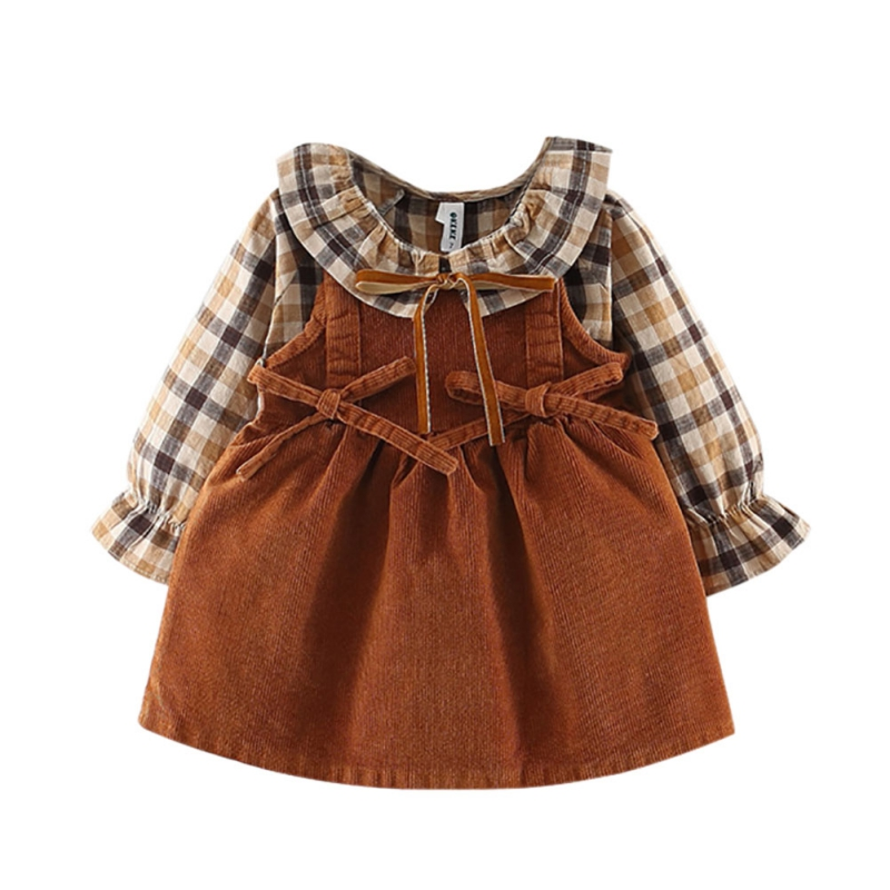 New Cotton Baby Dress For 0-3 Years Old Girls Autumn Fashion Plaid Strap Dress Two Sets Of Tide Vestido Girl Clothing