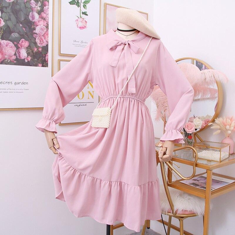 Gaganight элегантное шифоновое весенне-летнее женское платье с бантом, милые однотонные платья, офисные женские платья с длинным рукавом и рюша...