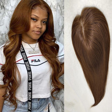 Darker Blonde 12*14cm Toupee Hair For Women Hair Toppers 100% Human Hair Clip Ins Brown Color 130% Volume Extension +Silk base