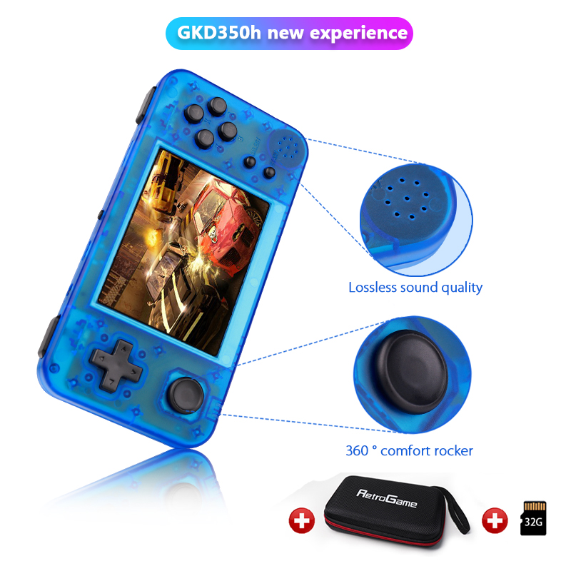 GKD 350H-GameKiddy RG350H Retro Game Console- Portable Video Game Handheld 3.5inch IPS Screen Game Player RG350 H