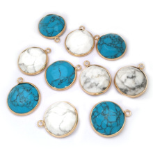 LE SKY Round Natural Stone Pendants & Necklace Charms for Jewelry Making Stainless Steel White/blue