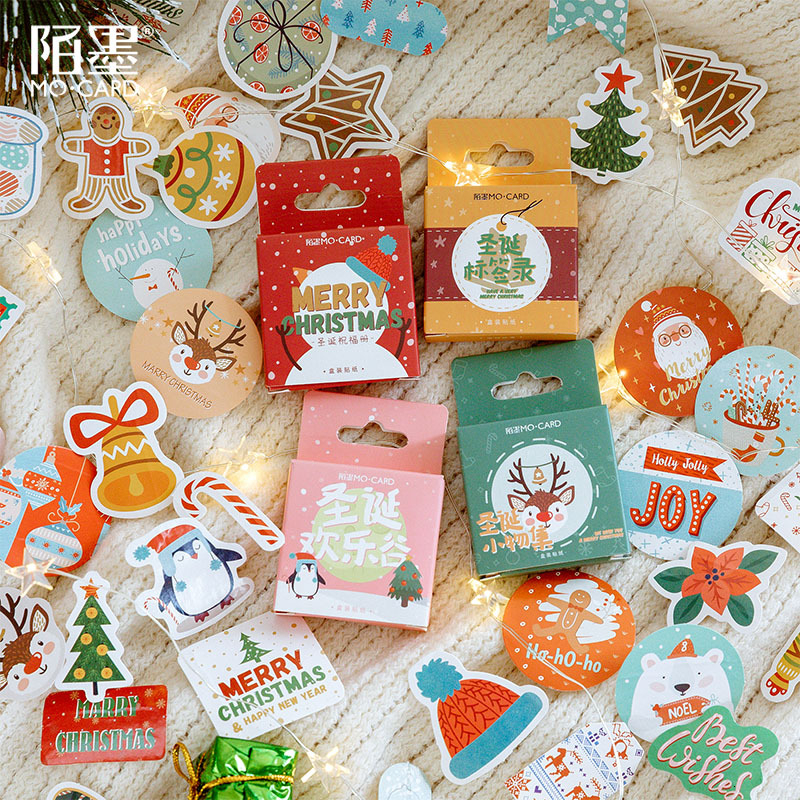 45PCS Christmas Stickers Kawaii Cute Cartoon Greetings Handbook Decoration Sticker Scrapbooking Girl School Supplies