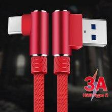 90 graus 1 2 3 m usb tipo c cabo para samsung s10 s9 s8 huawei carregamento rápido carregador do telefone móvel fio usb c cabos cabo de dados