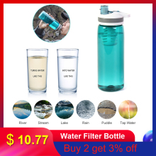 Water Filter Straw 770ml Outdoor Sport Leakproof Water Filter Bottle Water Purifier for Camping Hiking Backpacking Travel