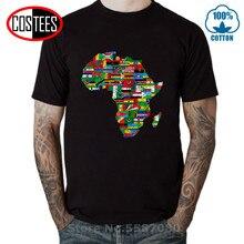 Camiseta de mapa de bandera de países africanos, camiseta de orgullo del Partido Africano, mapa de África Vintage con banderas, camisetas de mapa del continente africano