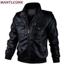 MANTLCONX-chaqueta de cuero para motocicleta para hombre, chaqueta cortavientos a la moda, de PU, cálida, 5XL y 6XL