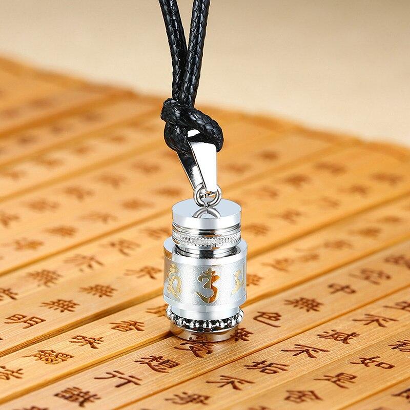 Urne Halskette Edelstahl Buddhistischen Mantra Gebet Flasche Andenken Memorial Schmuck Asche Anhänger Feuerbestattung