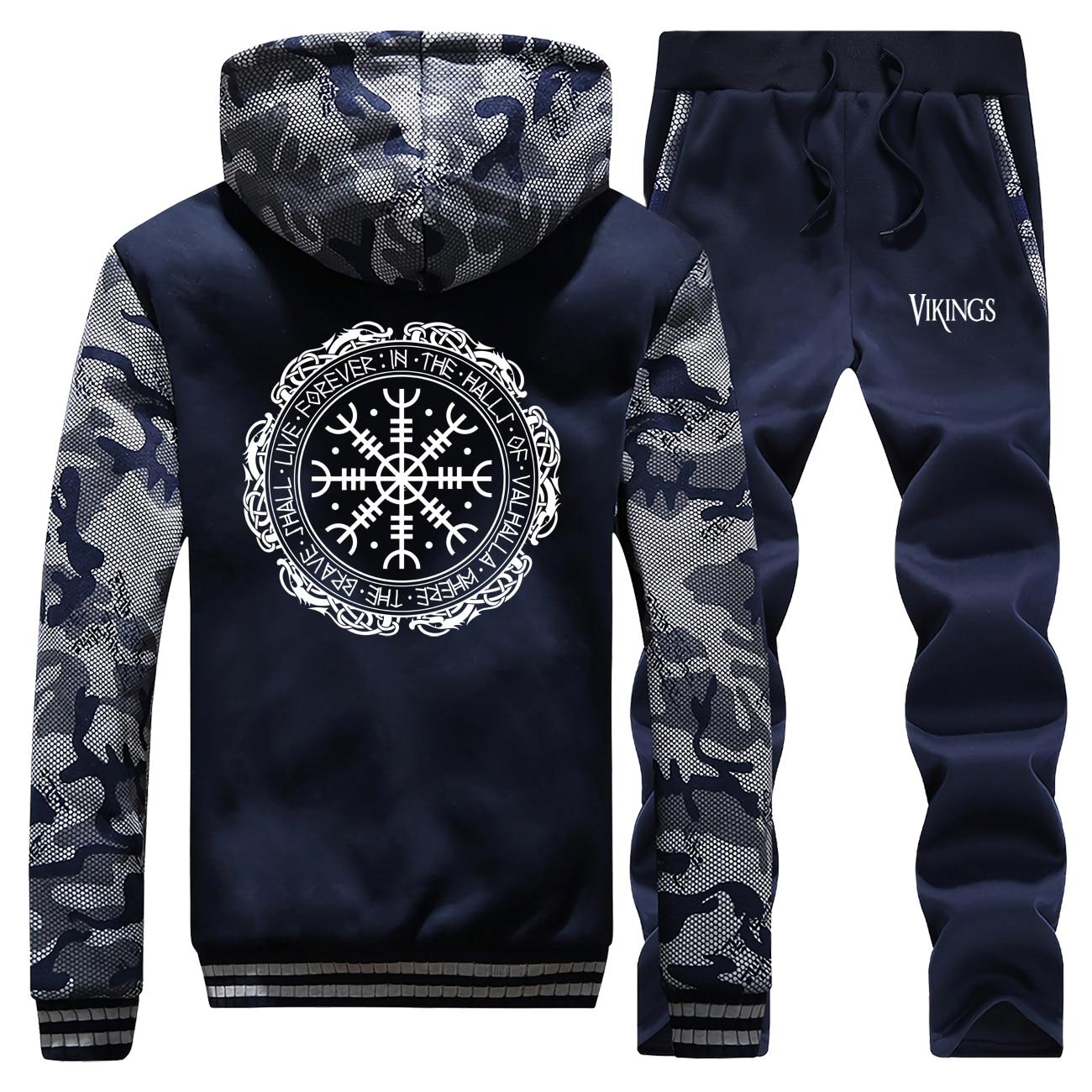 Viking Valhalla Odin Coat Men Warm Suit Fleece Hoodies Sweatshirt Set Winter Jacket+Pants 2 Piece Sets Mens Camouflage Tracksuit