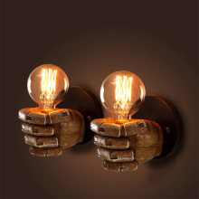 2019 Retro Creative Fist Shape Wall Light E27 Lamp Holder Industrial Style Wall Lamp New Year Decoration for Home Bar Ligthting(China)