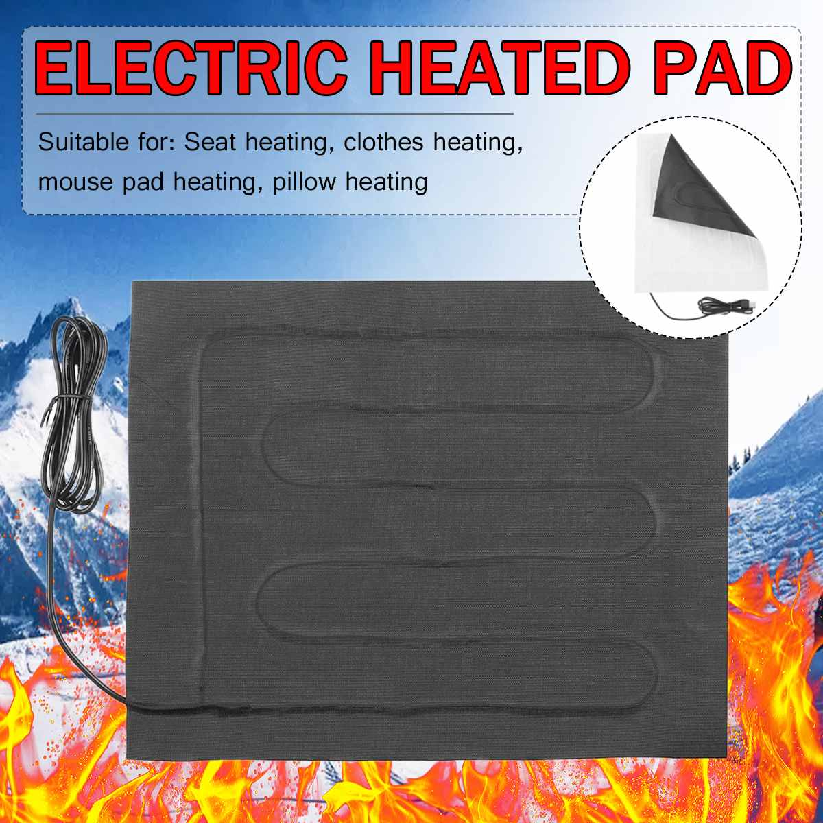 24*30CM USB Electric Heater Heating Pad For DIY Thermal Vest Jacket Clothing Heated Pads Winter Body Warmer