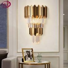 Youlaik الذهب الحديثة شمعدانات جدارية الإضاءة AC110 240V اثنين مستوى الكريستال الجدار مصباح السرير غرفة المعيشة بلورات تركيب المصابيح
