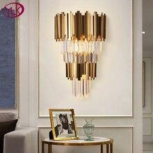 Youlaike זהב מודרני קיר פמוטים תאורה AC110 240V שני רמת קריסטל קיר מנורה שליד המיטה סלון גבישי אור קבועה