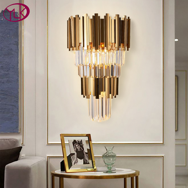 Youlaike Gold Modern Wall Sconces Lighting AC110 240V Two Level Crystal Wall Lamp Bedside Living Room Crystals Light Fixture