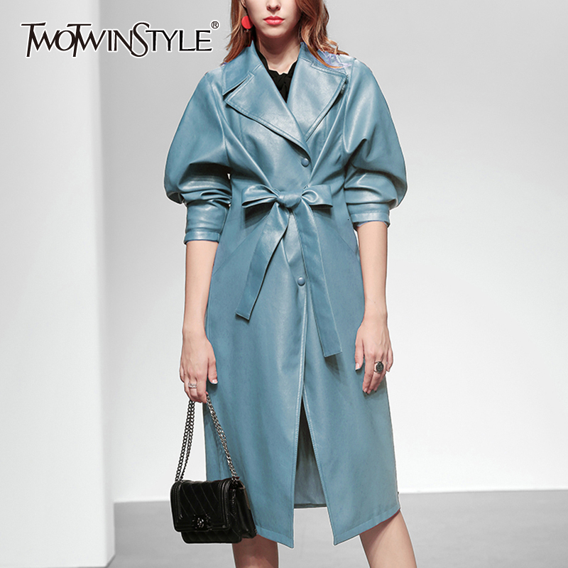 TWOTWINSTYLE Elegant Blue Bow Windbreakers Female Lapel Collar Long Sleeve High Waist Lace Up Tunic Women's   Trench   Coats Fashion