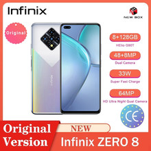 Infinix zero 8 smartphones 33w super carga 8gb 128gb 6.85 Polegada android quad camera helio g90t