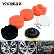 7/3Pcs Car Polishing Disc Self Adhesive Waxing Sponge Wheel Wool Headlight Repair Polishing Pad for Car Polisher Drill Adapter