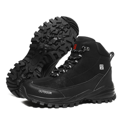 Large Size Ankle Boots Men Winter Outdoor Warm Fur Non Slip Snow Shoes Black Sneakers Fashion Footwear Cowboy Boots Lace Up Work