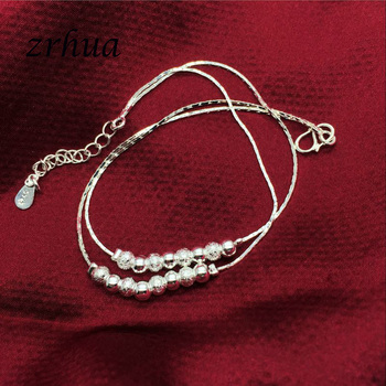 Bohemia 925 Silver Anklets For Women Multilayer Beads Pendant Anklet Sexy Foot Jewelry Best Gift Christmas Bijoux Decoration 1