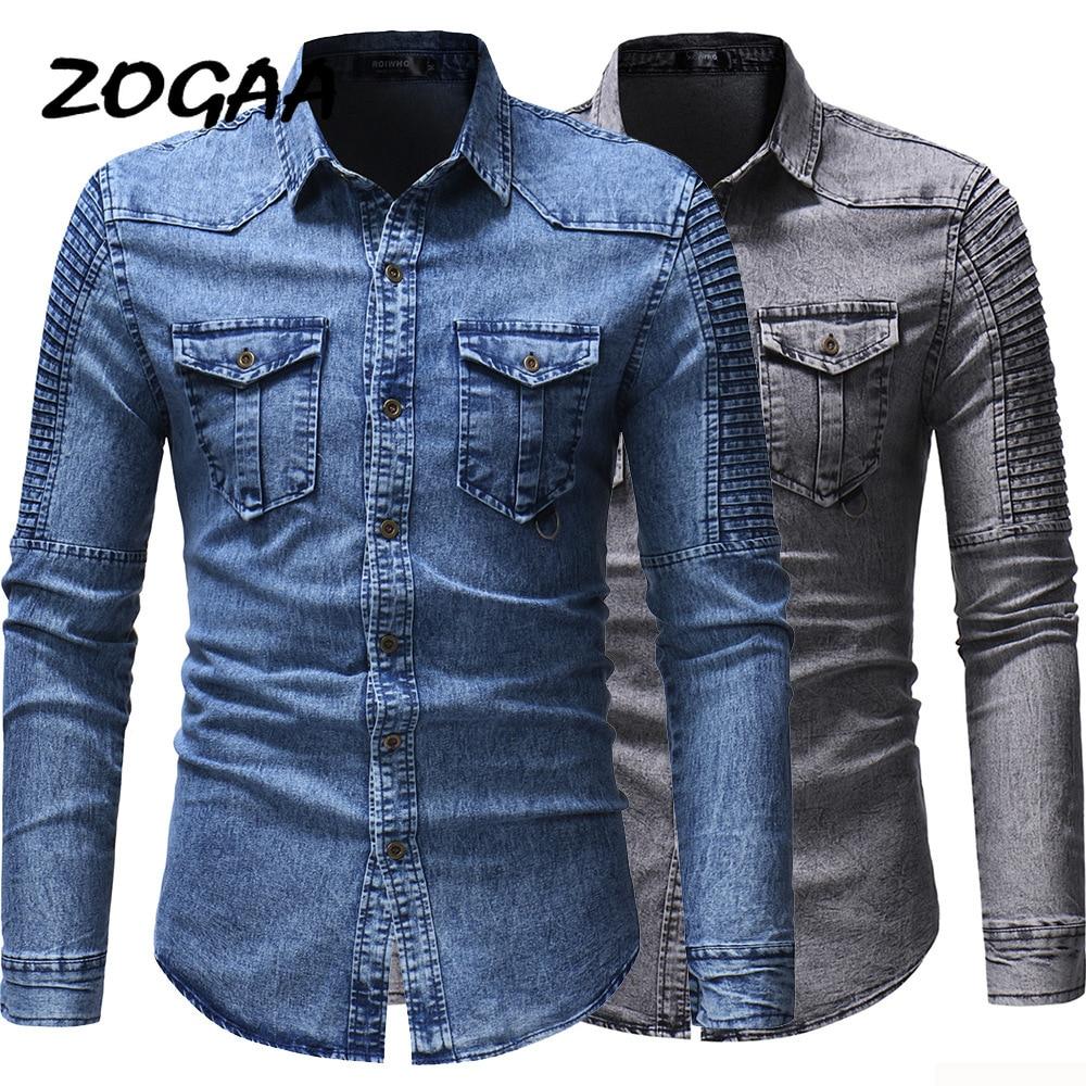 ZOGAA 2020 New Men's Jeans Shirt Fashion Spring Slim Long-sleeved Denim Shirt Personality Fold Stitching
