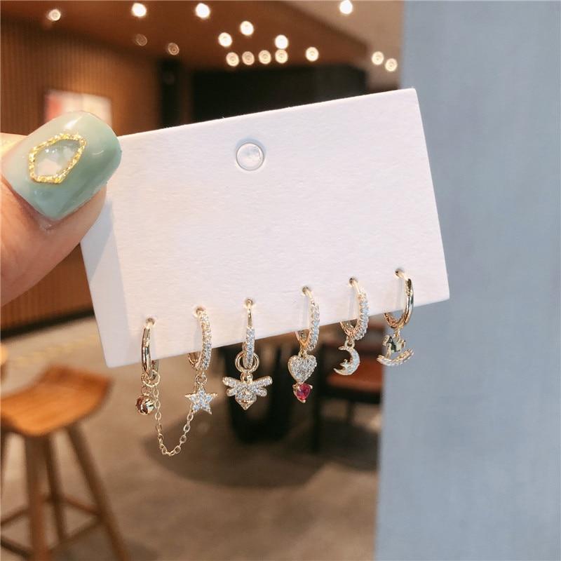 Trendy Cute Bee Heart Small Hoop Earrings Set For Women New Korean Star Moon Earrings Wedding Jewelry 2020