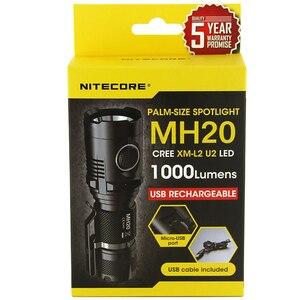 Image 1 - Ücretsiz kargo NITECORE MH20 1000 lümen CREE XM L2 U2 CRI LED su geçirmez Torch USB şarj edilebilir el feneri olmadan 18650 pil