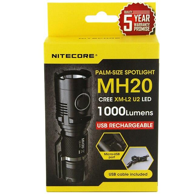 Ücretsiz kargo NITECORE MH20 1000 lümen CREE XM L2 U2 CRI LED su geçirmez Torch USB şarj edilebilir el feneri olmadan 18650 pil
