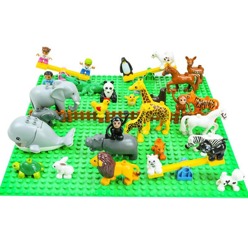Строительные блоки Duploed, фигурки животных, пластина, аксессуары, совместимые с Duploe, игрушки, хорошее качество, кирпичи, рождественский подар...