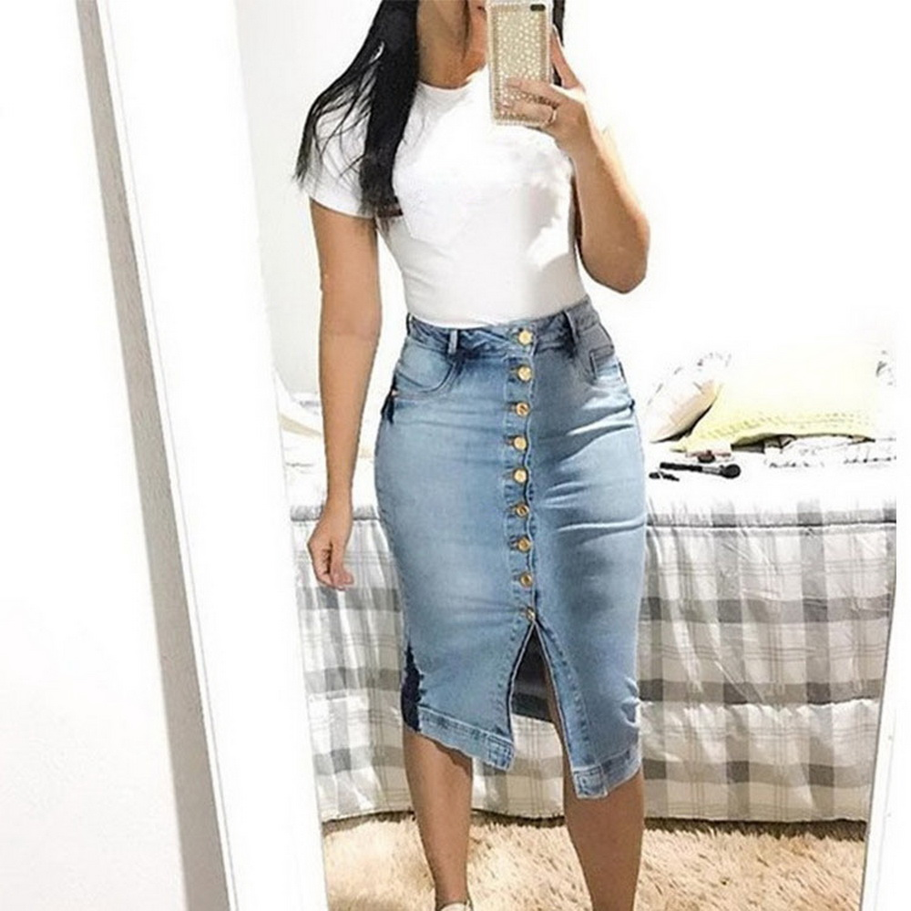 Womens Denim Skirt High Waist Button Front Pencil Bodycon Skirts 2019 New Ladies Sexy Jeans Skirt