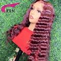 KRN кудрявые 13x4 кружевные передние парики для женщин парики волос 99J красный бордовый 180% плотность Реми бразильские человеческие волосы с де...