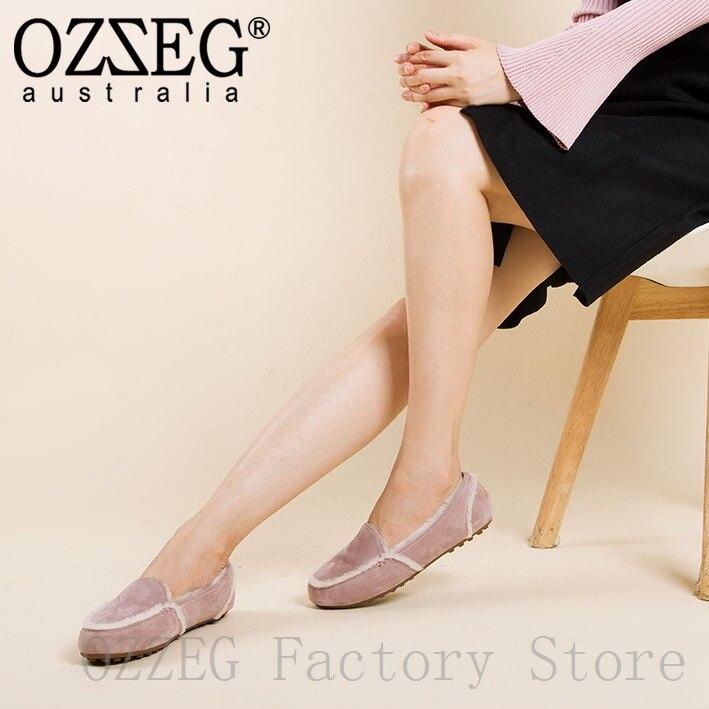 OZZEG marque de luxe Designer chaussures femmes hiver réel cuir appartements australie mouton fourrure mocassins dames chaussures rose brun gris Coffe