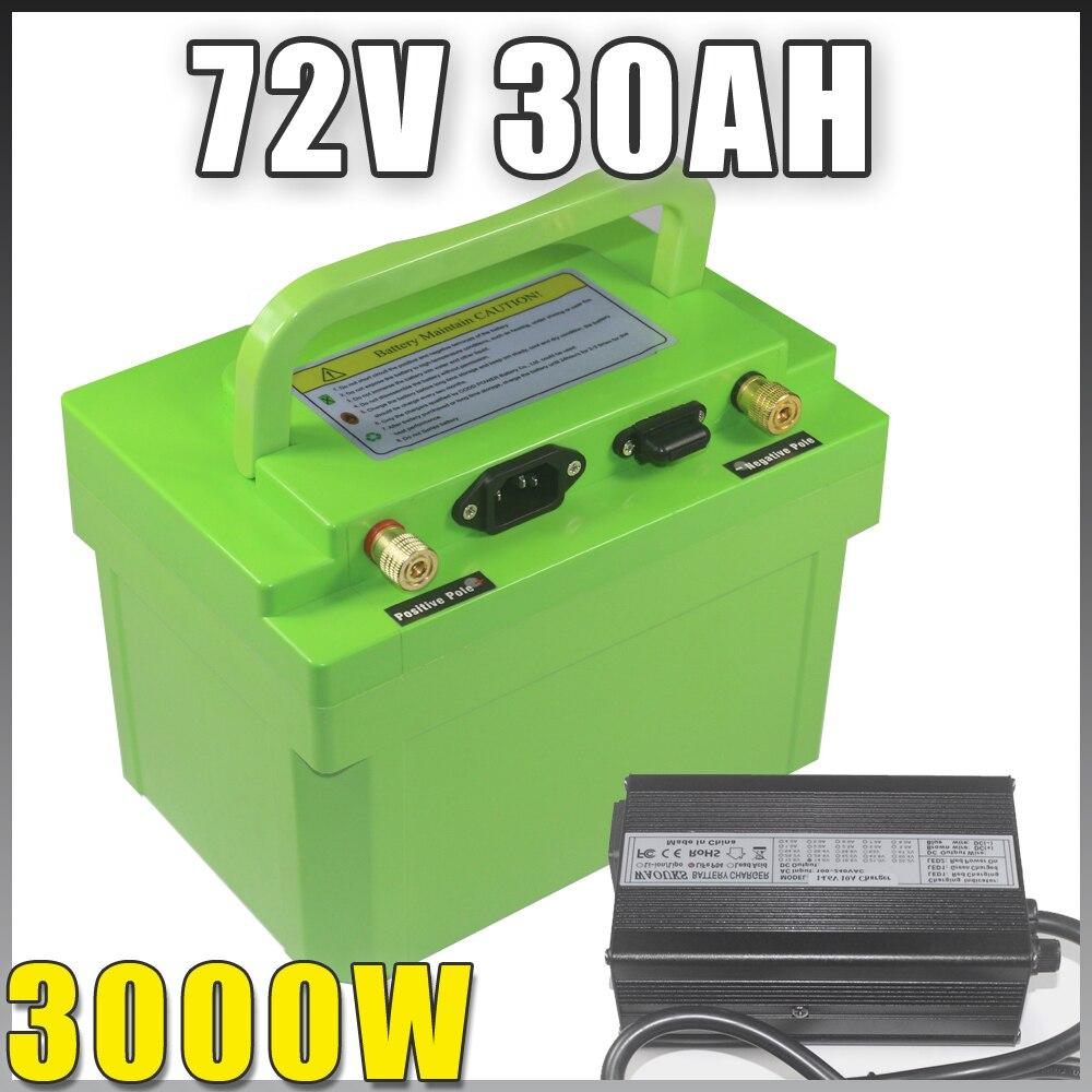 Batería de litio de bicicleta eléctrica, 72V, 30Ah, 3000W, BMS, 72V