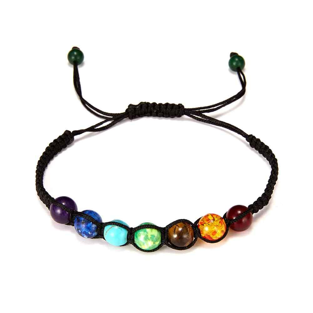 8mm Mutil-color Rainbow 7 Chakra Bracelet Black Lava Balance Beads Bracelet Women Men Natural Stone Yoga Buddha Prayer Jewelry