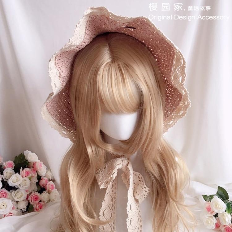Rococo Bonet Lace Lolita Nightcap French Retro Garden Lolita Hat Sunshade Summer Women